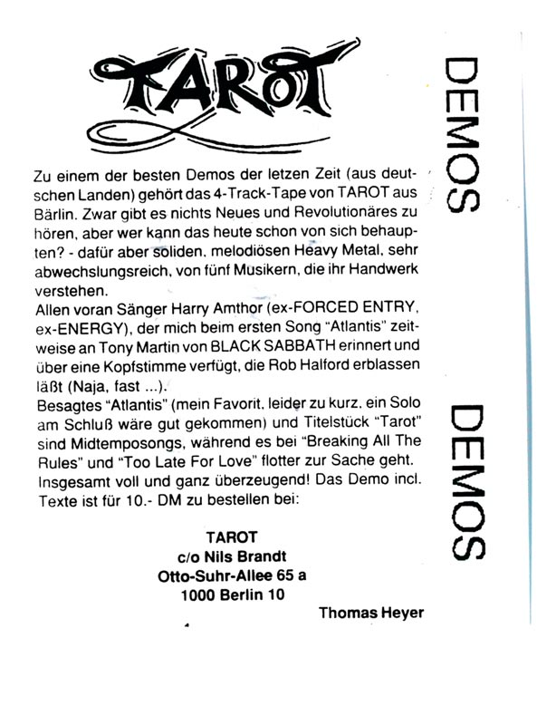 picture of printversion tarot demo´90 review